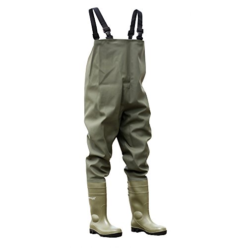 Dunlop Mens Chest Wader Steel Toe & Midsole Safety Wader Welly Boots
