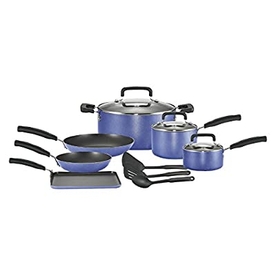 T-fal Signature Total Nonstick Aluminum 12 Piece Cookware Set - Blue