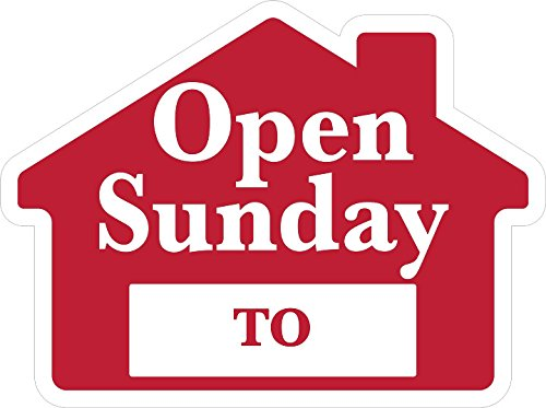 OPEN SUNDAY Sign with Area for Time - House Shape Corrugated Sign - STAKES SOLD SEPARATELY
