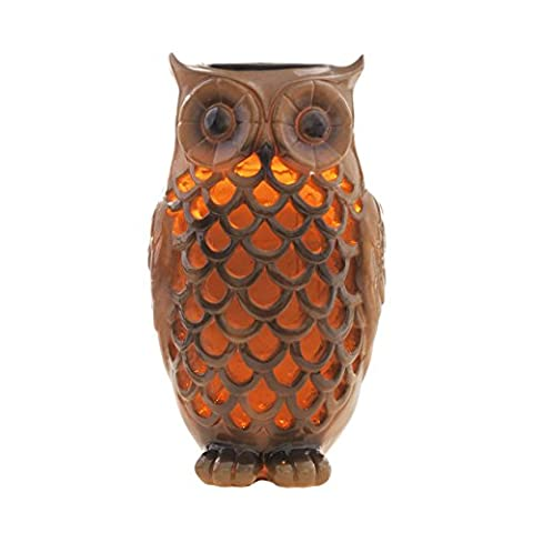 Solar Powered Owl Light Decoration- Ultra Durable Polyresin- Highest Capacity Battery- Intricate Detailing- Wireless Outdoor Accent Lighting- Best Decor Ornament for Garden/ Patio/ Yard (Bronze (Outdoor Decor)