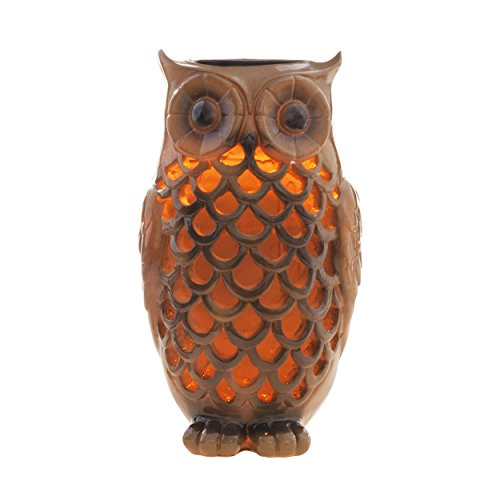Solar Powered Owl Light Decoration- Ultra Durable Polyresin- Highest Capacity Battery- Intricate Detailing- Wireless Outdoor Accent Lighting- Best Decor Ornament for Garden/ Patio/ Yard (Bronze Brown)