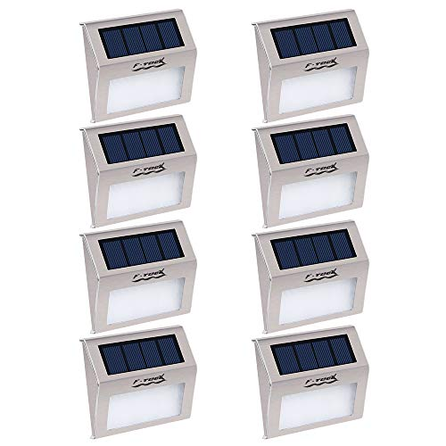 Cheap  [Pack of 8] F-TECK Outdoor Stainless Steel LED Solar Step Light Wireless..