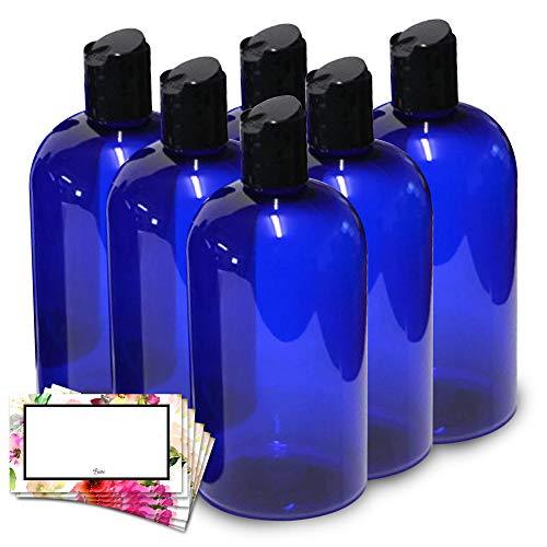 BAIRE BOTTLES - 16 OZ BLUE PLASTIC REFILLABLE BOTTLES, BLACK HAND-PRESS FLIP DISC CAPS - ORGANIZE Soap, Shampoo, Lotion with a Clean Look - PET, Lightweight, BPA Free - 6 - Plastic Cobalt Blue Bottles