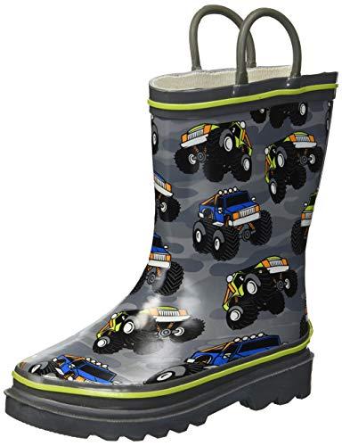 Western Chief Boys Kid's Waterproof Printed Rain Boot, Monster Crusher, 9/10 M US -