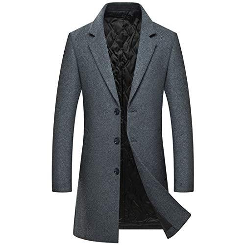(Zeetoo Men's Wool Peacoat Winter Long Trench Coat Top Coat Grey 1806)