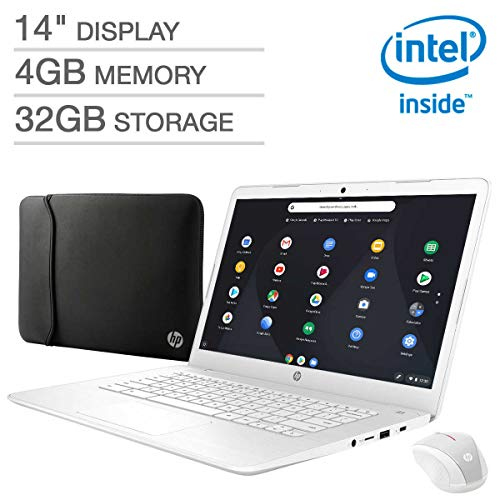 HP 14″ FHD Widescreen IPS WLED-Backlit Display Laptop, Intel Celeron N3350 Processor, 4GB RAM, 32GB eMMC Internal Storage, Webcam, Wireless+Bluetooth, Chrome OS (Premium Bundle (White, Non-Touch))