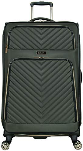 """Kenneth Cole Reaction Women's Chelsea 28"""" Chevron Quilted Softside Expandable 8-Wheel Spinner Checked Suitcase, Olive, Inch"""