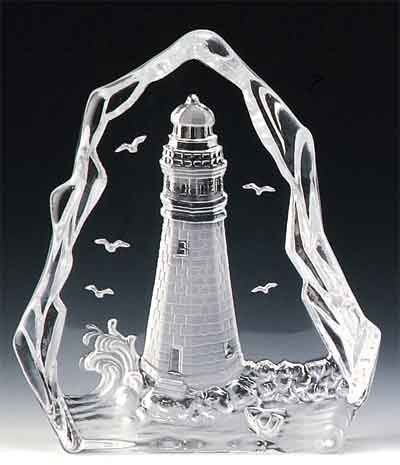VG Engraved Lead Crystal - Lighthouse (Boat)