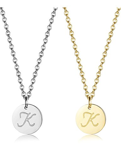 ORAZIO 2Pcs Stainless Steel Womens Classic Initial Necklace Alphabet Letter Pendant Necklace K (Gold Tone Initial Letter)