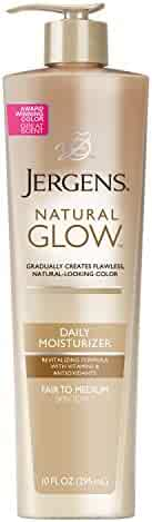 Jergens Natural Glow Daily Moisturizer for Body, Fair to Medium Skin Tones, 10 Ounce Pump