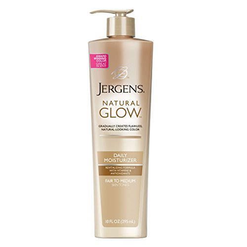 - Jergens Natural Glow Daily Moisturizer for Body, Fair to Medium Skin Tones, 10 Ounce Pump