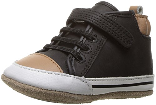 (Robeez Boys' Brandon High Top Sneaker, Black, 12-18 Months M US Infant)