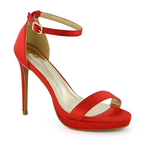 Caviglia Satinato Tacco Rosso Sandalo Essex Glam Peep Alla Cinturino Toe Stiletto Donna Basso TkiuXZOP