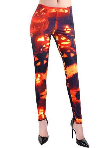 Gejoy Women's High Waist Leggings Halloween Pants Stretchy Tights for Party Costume Yoga Running (Pumpkin Printed 2, M)
