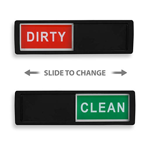 Clean Dirty Dishwasher Magnet - Non-Scratch Magnetic Silver Signage Indicator for Kitchen Dishes with Clear, Bold & Colored Text - Easy to Read & Slide for Changing Signs (Black)