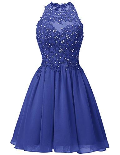 Royalblau Ballkleid Neckholder Homecoming Brautjungfernkleider Knielang Abendkleider Damen Dresstells Gipüre qpIxw8Xx1