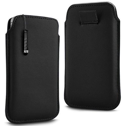 N4U Online - Apple Iphone 4 Prime PU souple Pull en cuir flip Tab Housse Etui & Mini Stylet - Noir