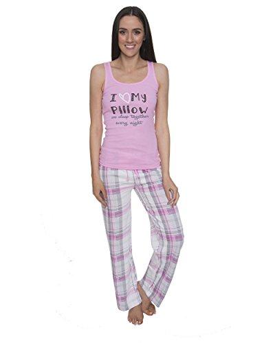 Sleep & Co. Womens Pajama Sleepwear Graphic Tank Top with Paid Pants Set Light Pink Medium (Pajamas Pants Shirt)