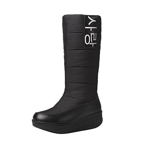 ENMAYER Frauen Down Material Wasserdichte und warme Schnee Stiefel Flat Thick Heel Mid-Kalb Stiefel Schwarz#59