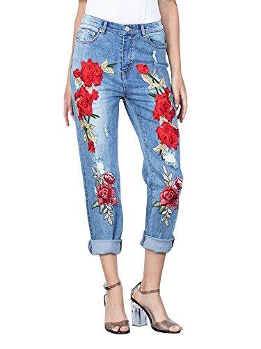 OCHENTA Broderie Femme Pantalon Dchirs Denim Jeans Imprim rrn1WFg