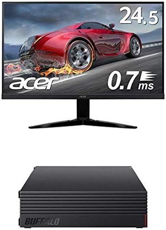 BUFFALO 外付けハードディスク 4TB テレビ録画/PC/PS4/4K対応 HD-AD4U3 + Acer ゲーミングモニター KG251QGbmiix 24.5インチ 0.7ms 75hz TN FPS向き フルHD 非光沢 フレームレス