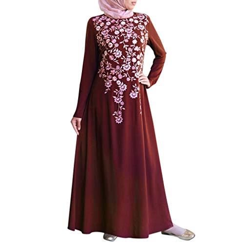 WILLBE Women Vintage Dress Ethnic Dress Dress Robe Women Long Floral Dress Muslim Long Sleeve Dress Women Evening Dress (New York Rangers Robe)