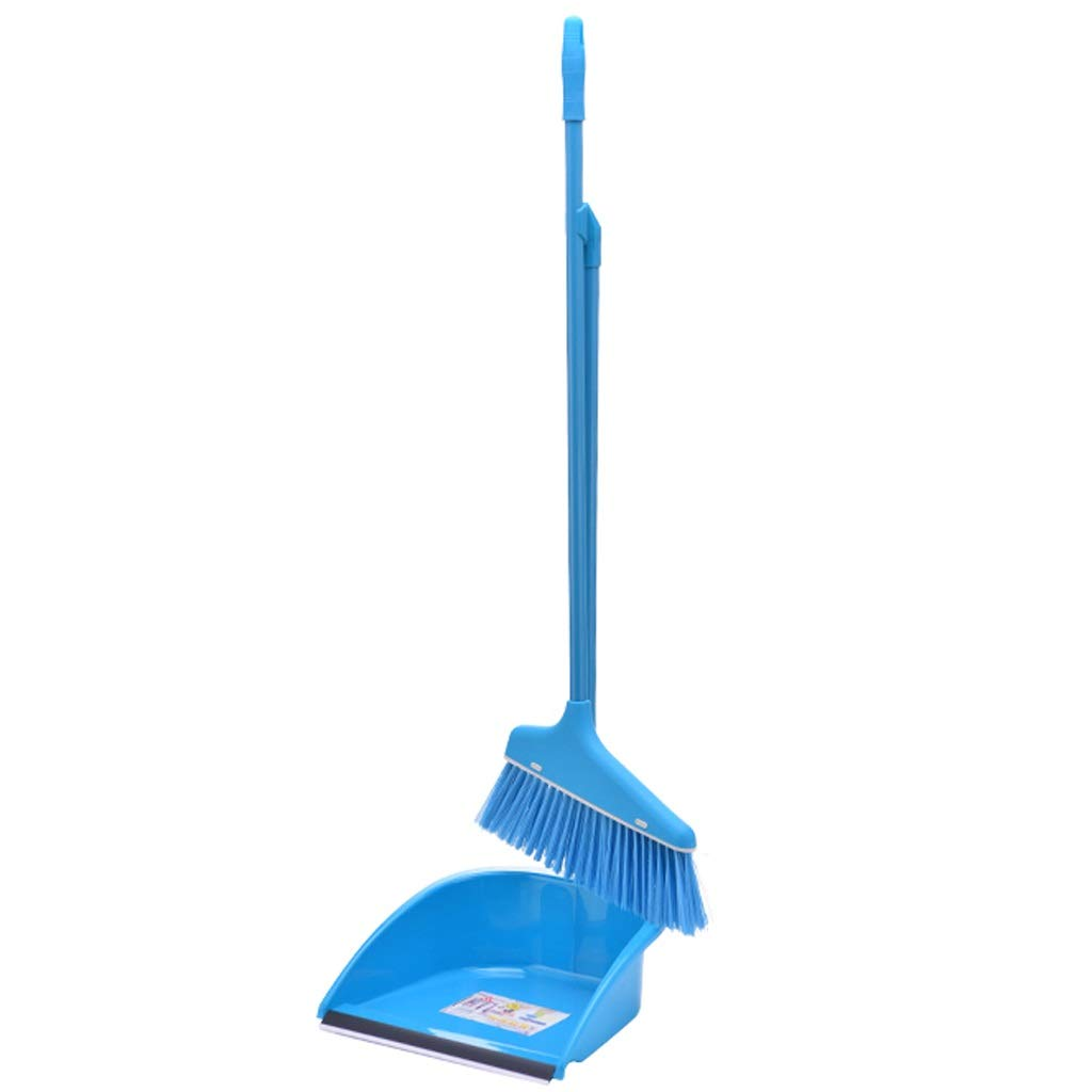 Lsxlsd Dustpan & Brush Upright Long-Handled Dustpan And Brush Broom Cleaning Set Soft Broom Indoor Sweeping Broom (Color : Blue) by Lsxlsd