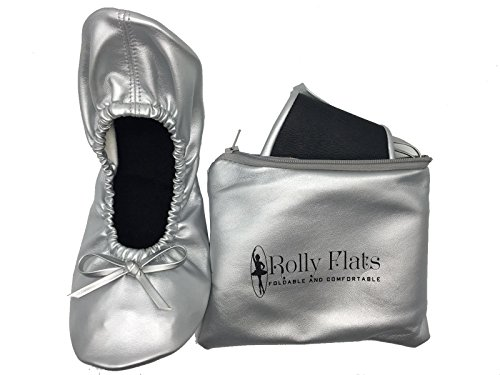 Rolly Flats - Women's Foldable Portable Pumps Flats Ballet Shoes with Carrier Pouch Bag Silver BO2A4