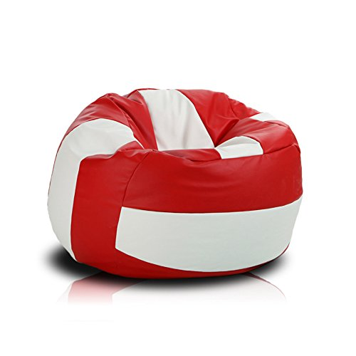 Turbo BeanBags Volleyball Style Bean Bag Chair, Large, Red/White