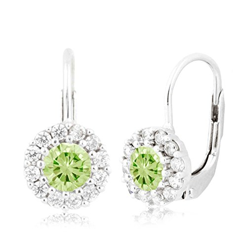 - UNICORNJ Children's Tweens Sterling Silver 925 Light Green CZ Halo August Birth Month Leverback Earrings 4mm Italy