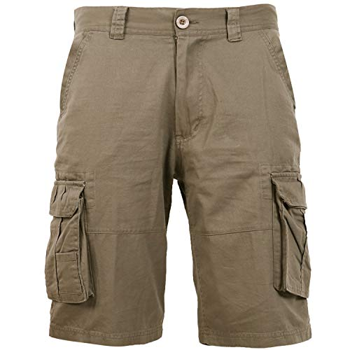 Coevals Club Men's Casual Cargo Shorts Cotton Twill Multi Pockets Outdoor Pants (#2 Khaki, 34)
