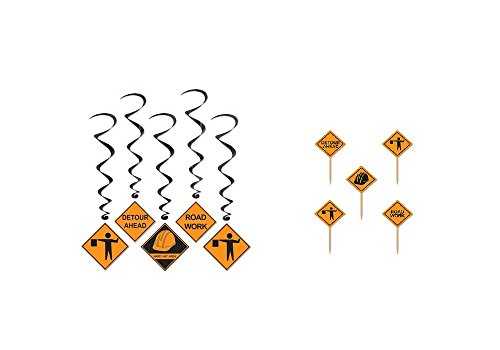CONSTRUCTION Site PARTY Decorations - 5 Dangling WHIRLS - 50 Cupcake Toppers PICKS - Road Work BUILDER - DECORATIONS Party -DECOR by Just4fun - Bob The Builder Cake Decorations