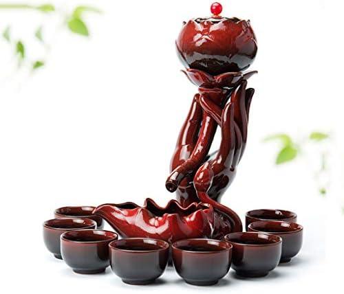 日本茶・茶道道具 カンフーティーセット怠惰な半自動セラミックティーカップセットティーポットティーカップティーリーク最高の贈り物 ティー用品 (Color : Red)