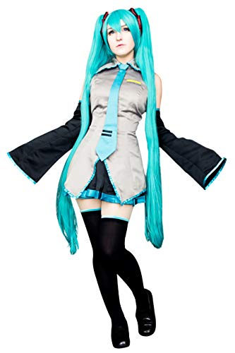 DAZCOS Adult US Size Print Oversleeves Miku Halloween Cosplay Costume with Socks (Women L) Grey