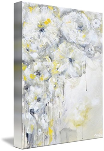 Wall Art Print entitled ''Purity'' Yellow Grey Floral Abstract by Christine Krainock | 36 x 48 by Imagekind