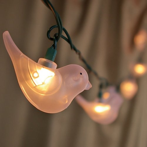 String Lights, 10 White Birds, Outdoor, Green Wire, 11 Ft., Plug In
