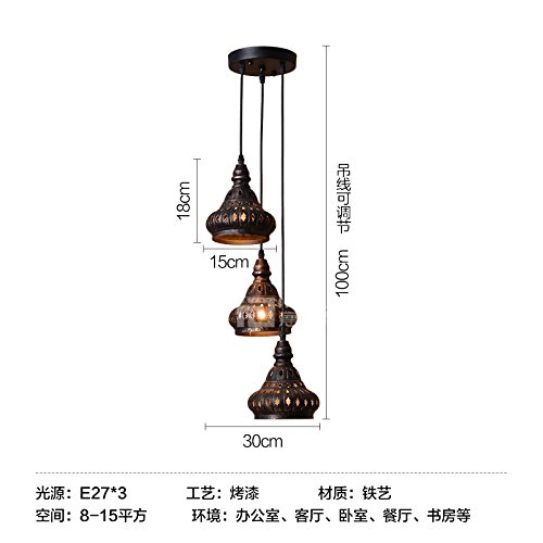 Injuicy Lighting Vintage India LED Hollow Ceiling Lamp Droplight Bar Loft Decor Cafe Restaurant (B)