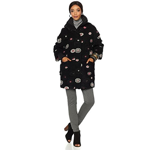 Rara Avis Iris Apfel Turtleneck Coat Wool-Blend Long Circle Print 1X New 559-989 - Print Wool Blend
