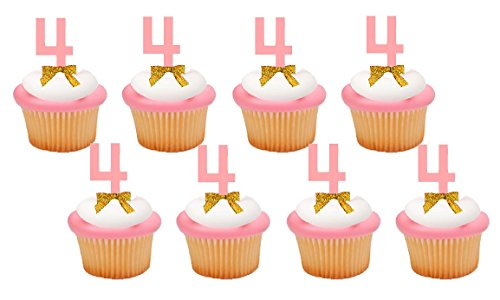 Hand Crafted Birthday/Anniversary Cupcake Food Appetizer Decorations (Four (4th) Number 4 Birthday Cupcake Toppers) (Best Pick 4 Numbers)