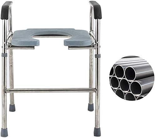 GBX Beweglicher Faltbare Durablefolding Potty Wc-Stuhl, Nacht Commodes Chair (Edelstahl) Mit Armlehnen | Höhenverstellbar | Attendant Antrieb