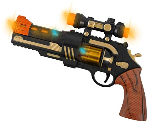 Zoom Novelties Super Power Revolver Toy Pistol with Flashing Lights, Sound and Motion.]()