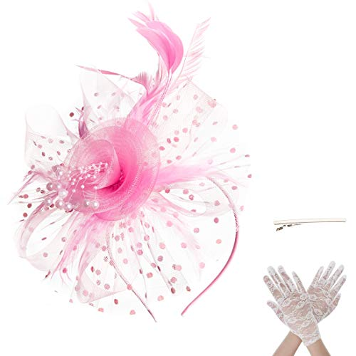 Pink Lace Hat - SAFERIN Fascinators Hat Flower Mesh Feathers on a Headband and a Clip Tea Party Wedding Party Headwear for Girls and Women with White Lace Glove (TA7-Pink with Glove)