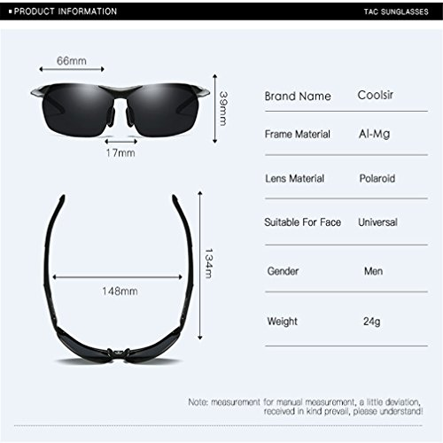 Gray Gafas Hombres Deportivas Polarizadas LUHUIYUAN Sol De Magnesio De para Black De De Aluminio Conducción O7qUd7