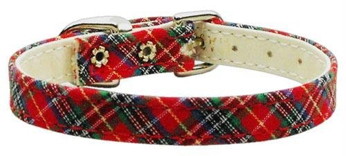 Mirage Pet Products 3/8-Inch Plaid Plain Dog Collar, Size 16, Red