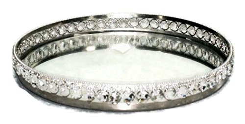 Dia Round Mirror Tray - Heim Concept Sparkle Round Mirror Tray with Beaded Crystals Dia: 11.25