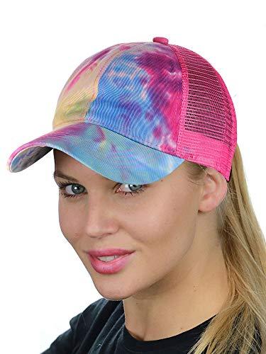 C.C Ponycap Messy High Bun Ponytail Adjustable Mesh Trucker Baseball Cap Hat, Tie Dye Hot Pink (Womens Pink Adjustable Cap)