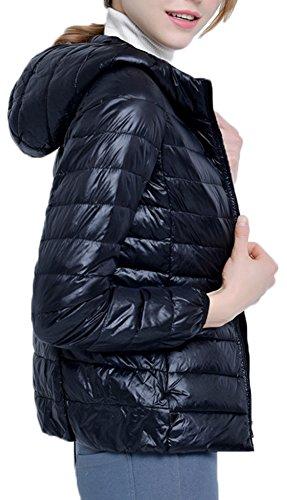 Femme Parka Manches Veste Ultra Hiver Capuche Doudoune Longues Zippe pour Noir Manteau Mochoose Lgre Blouson w1HOqUO