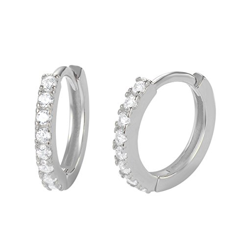 Carleen 14K White Gold Plated 925 Sterling Silver Round Cut White Cubic Zirconia CZ Dainty Hinged Hoop Earrings for Women Girls, ()