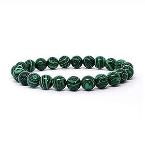 KIREI PARIS BIJOUX Bracelet pierre naturelle 8mm bracelet homme bijoux femme bracelet femme idée cadeau (Malachite)