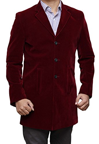 Doctor Who Peter Capaldi Costume Maroon Velvet Coat For Mens 3XL